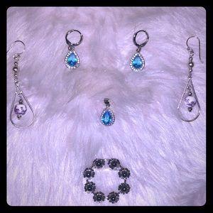 Sterling Silver Earrings, S.S. Pendant & S.S. Pin
